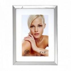 Marco portafotos metálico plateado liso fotografía 10x15cm. borde interior blanco