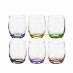 Juego 6 vasos bajos cristal bohemia 300ml. multicolor lunares
