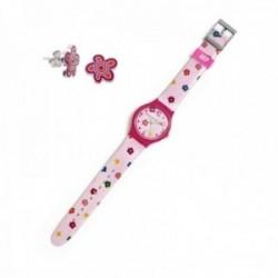 Juego Agatha Ruiz de la Prada reloj AGR229 rosa flores multicolores pendientes plata Ley 925m flor