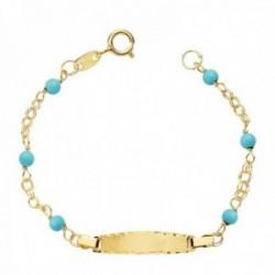 Esclava oro 18k bebé 12.5cm. doble cadena bolas azules 3mm. chapa 19x4mm. borde tallado cierre reasa