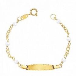 Esclava oro 18k bebé 14cm. doble cadena perlas cultivadas 3mm. chapa 19x4mm. borde tallado reasa