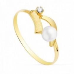 Sortija oro 18k niña 11mm. centro perla 4mm. bandas lisas punta circonita