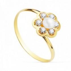 Sortija oro 18k niña detalle flor centro perla 3.5mm. pétalos circonitas