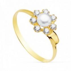 Sortija oro 18k niña detalle flor centro perla 4mm. pétalos circonitas banda lisa