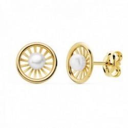 Pendientes oro 18k niña 8mm. redondos centro perla 3mm. bandas lisas calada cierre presión