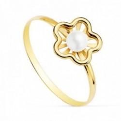 Sortija oro 18k niña detalle flor centro perla 3mm. bandas lisas calada