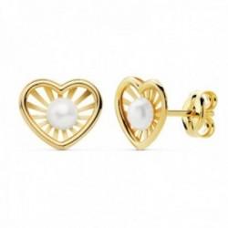 Pendientes oro 18k niña 9mm. detalle corazón centro perla 3mm. bandas lisas calada cierre presión