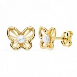 Pendientes oro 18k niña 9mm. detalle mariposa centro perla 2.5mm. bandas lisas calada cierre presión