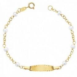 Esclava oro 18k niña 17cm. cadena perlas 4mm. chapa borde tallado cierre reasa
