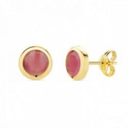 Pendientes oro 18k mujer 6.5mm. chatón redondo piedra rosa cierre presión