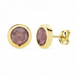 Pendientes oro 18k mujer 8.5mm. chatón redondo piedra morada malva cierre presión