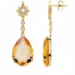Pendientes oro 18k mujer 41cm estrella circonita cadena piedra pera color 13mm cierre presión