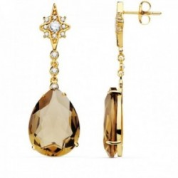 Pendientes oro 18k mujer 41cm estrella circonita cadena piedra pera color marrón 13mm cierre presión