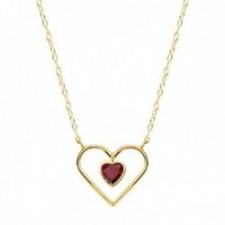 Gargantilla oro 18k cadena 40cm. forzada tallada corazón grande 16x14mm calado chico 7mm piedra roja