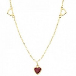 Gargantilla oro 18k cadena 42cm. forzada tallada corazones calados principal centro piedra roja