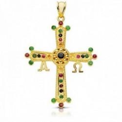 Colgante oro 9k cruz de Covadonga 40mm. piedras finas esmeralda rubí zafiro Alfa Omega