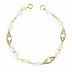Pulsera oro 9k niña comunión 18cm. perlas 5mm. eslabones formas flores caladas cierre reasa
