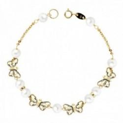 Pulsera oro 9k niña 16.5cm. perlas 5mm. eslabones mariposas talladas caladas cierre reasa