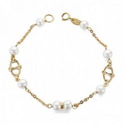Pulsera oro 9k niña 17.5cm. perlas 5.5mm. cadena formas talladas caladas cierre reasa