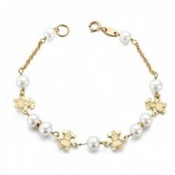 Pulsera oro 9k niña 17cm. perlas 5.5mm. cadena detalle niñas cierre reasa