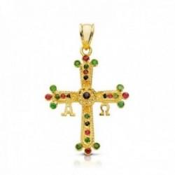 Colgante oro 9k cruz de Covadonga 28mm. piedras finas esmeralda rubí zafiro Alfa Omega