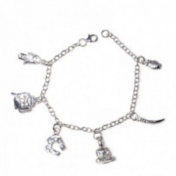 Pulsera plata Ley 925m fetiches charm amuletos suerte mujer