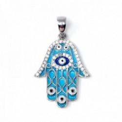 Colgante plata Ley 925m rodiada mano de Fátima 25mm. amuleto jamsa suerte ojo turco