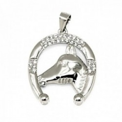 Colgante plata de Ley 925m rodiada herradura caballo 23mm. amuleto suerte circonitas mujer