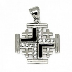 Colgante plata Ley 925m rodiada cruz Santo Sepulcro Jerusalén 18mm. circonitas detalle esmaltado negro mujer