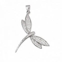 Colgante plata Ley 925m rodiada libélula 31mm. circonitas mujer