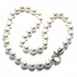 Gargantilla plata Ley 925m perlas 10mm. shell mujer cierre reasa marinera