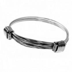 Pulsera plata Ley 925m rígida brazalete mujer extensible hilos nudos detelle laterales