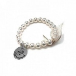 Pulsera plata Ley 925m elástica perlas shell motivo chapa 20mm. FELIZ ANIVERSARIO dibujo