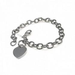 Pulsera plata Ley 925m mujer 18.5cm. cadena eslabones charm corazón liso cierre mosquetón