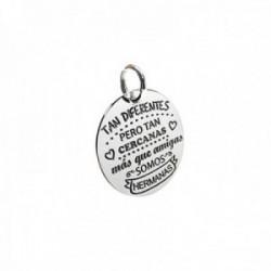 Colgante plata Ley 925m chapa 20mm. redonda lisa mensaje amiga dedicatoria