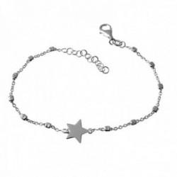 Pulsera plata Ley 925m cadena 16cm alterna eslabones cuadrados centro estrella lisa cierre mosquetón