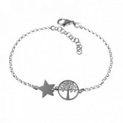 Pulsera plata Ley 925m cadena rolo 17cm. centro estrella árbol de la vida calado cierre mosquetón