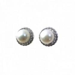 Pendientes plata Ley 925m rodiados 9mm. centro perla sintética filo circonitas cierre presión