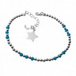 Pulsera plata Ley 925m piedras alternas azules charm estrella lisa cierre reasa