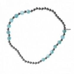Pulsera plata Ley 925m elástica bolas alternas lisas azules claras