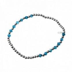 Pulsera plata Ley 925m elástica bolas alternas lisas azules oscuras