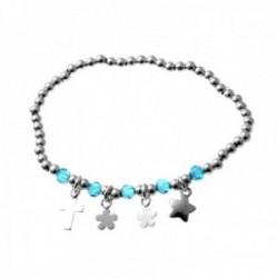 Pulsera plata Ley 925m elástica bolas alternas lisas azules claras charms cruz flores estrella lisos