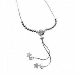 Gargantilla plata Ley 925m tipo corbata bolas circonita estrellas lisas cierre adaptable