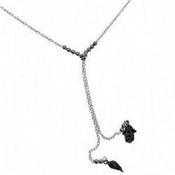 Gargantilla plata Ley 925m tipo corbata entrepieza adaptable bolas detalles plumas mano de Fátima