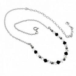 Gargantilla plata Ley 925m extra corta 30.5cm. motivos piedras blancas negras cierre reasa