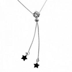 Gargantilla plata Ley 925m tipo corbata circonita estrellas lisas cierre adaptable