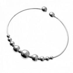 Brazalete plata Ley 925m pulsera rígida abierta detalle bolas diferentes tamaños