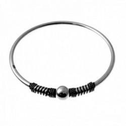Brazalete plata Ley 925m pulsera rígida lisa detalle bola espirales laterales