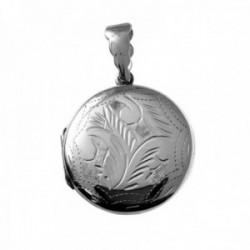 Colgante plata Ley 925m guardapelo liso 25mm. plano abierto centro detalles tallados