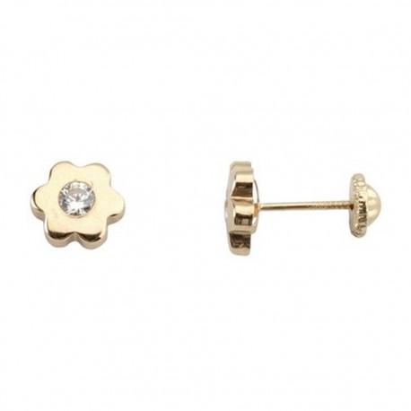 Pendientes oro 18K tornillo flor circonita de 3mm. [5254]